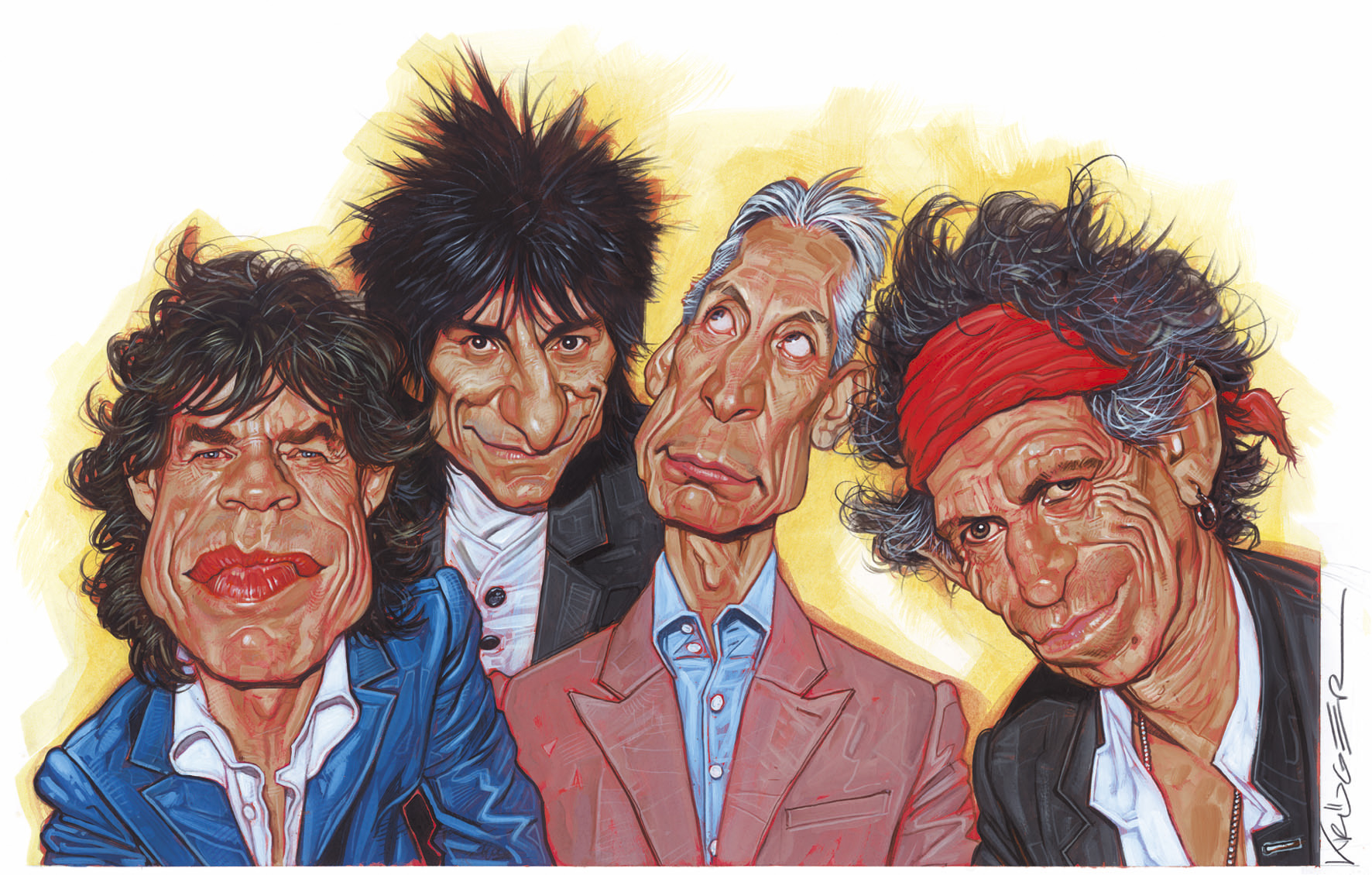 left to right: Mick Jagger, Ron Wood, Charlie Watts, Keith Richards