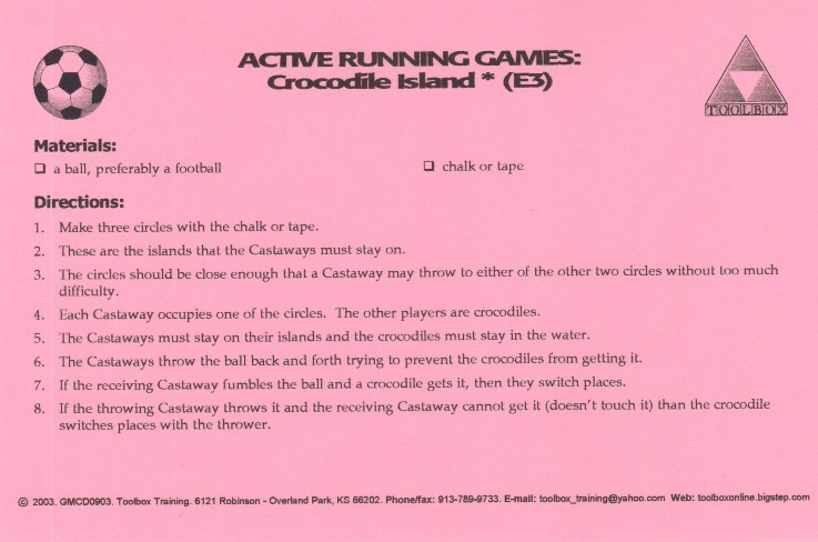 game activity card