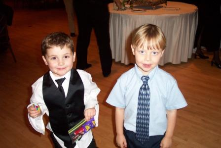 Sawyer (the son of the bride) and Evan